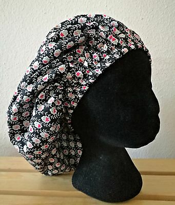 New Handmade Vintage Floral Black Lined Sleep/Lounge Caps