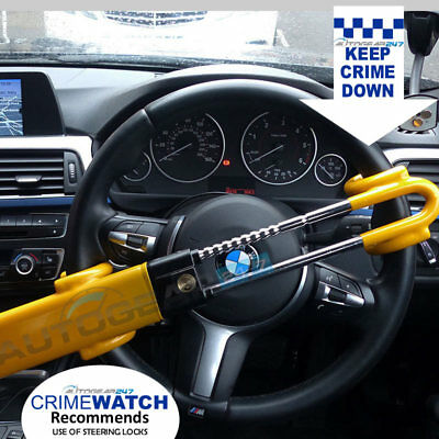 For BMW Twin Bar High Security Anti Theft Double Claw Steering Wheel Lock Clamp.