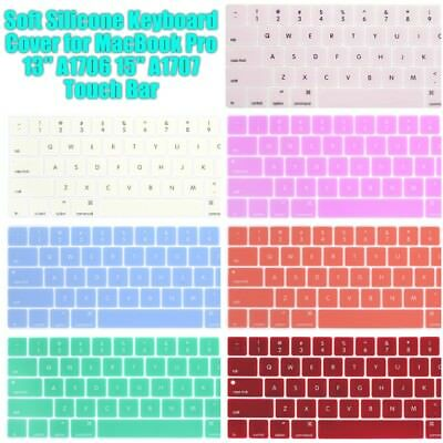 "NEW Soft Silicone Keyboard Cover for MacBook Pro 13″ A1706 15"" A1707 Touch Bar"