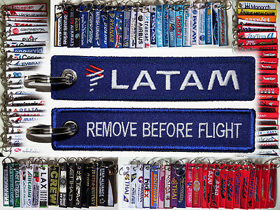 keyring LATAM Airlines Remove Before Flight keychain tag Brasil Chile pilot crew