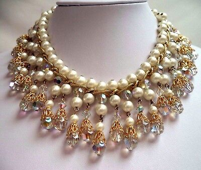 """Stunning Vintage Estate High End Ab Crystal & Faux Pearl 16 3/4"""" Necklace G6613M"""