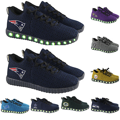 NFL Football Mens Poly Knit Team Color Light Up Sneakers - Pick Team