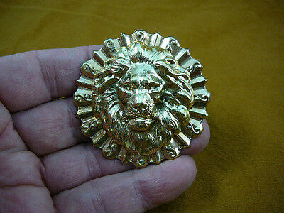 (B-LION-362) Lion big cat noble mane lover wild Lions round brass pin pendant