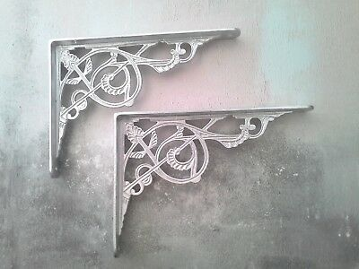 Pair of Cast Iron Victorian Antique Wall Silver Colour Shelf Brackets Free Post