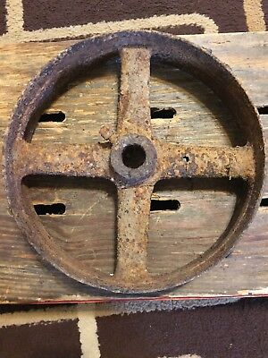 Large Vintage Cast Iron Metal Pulley Turning Gear Wheel Industrial Steampunk