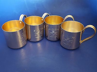 Vintage Smirnoff Vodka Copper-Plated Aluminum Moscow Mule Mugs. Set of 4. 12 Oz
