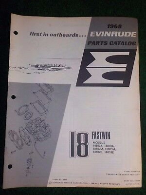 1968 OMC Evinrude Outboard Parts Catalog Manual 18 HP Fastwin Final Edition