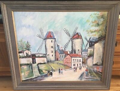 Vintage French Oil on Canvas Montmartre & Portrait Double Sided Painting