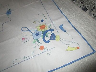Vintage Linen Hand Embroidered Flowers Tablecloth