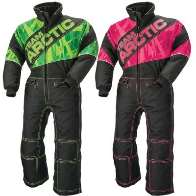 Arctic Cat Youth Child One-Piece Team Arctic Winter Snowmobile Suit - Green Pink