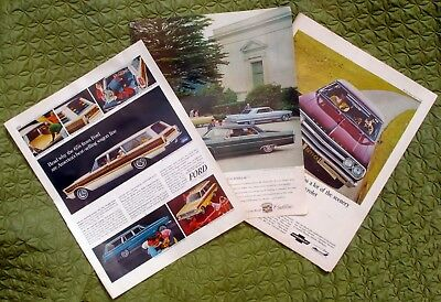 Lot of 3 Vintage Magazine Print Ads 1965 Ford Chevrolet Cadillac Auto Full Page