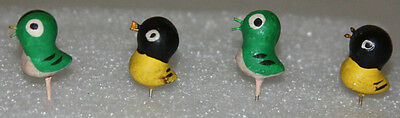 """Tiny Vintage/Antique Birds Two Black and Yellow, Two Green and Cream, Body 3/4"""""""