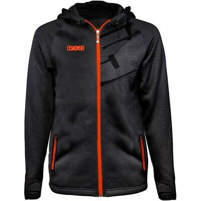 509 Men's Tech Water Resistant Polyester Hoodie Sweatshirt - Black Lime Orange