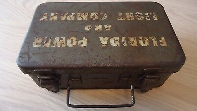 Vintage Heavy Metal Box Florida Power And Light Company Medical Supplies
