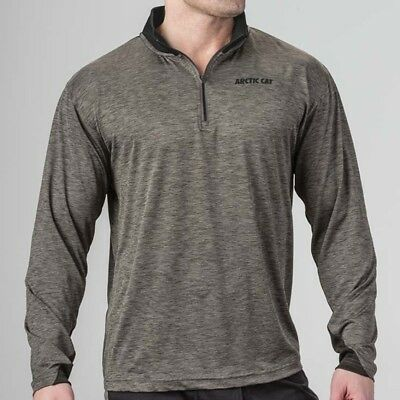 Arctic Cat Men's Lightweight 1/4 Zip Polyester Sweatshirt - Black Gray 5283-44_