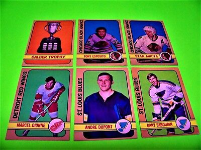 1972-73 O-Pee-Chee LOT (6) DIONNE Dryden Trophy ESPOSITO Dupont RC +++ 72-73 OPC