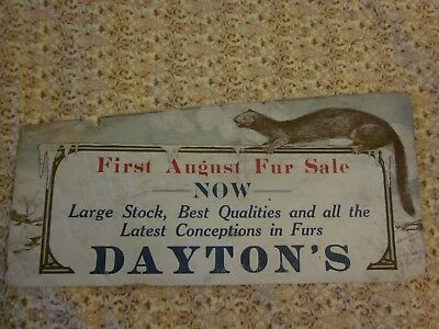 Vintage MN Dayton's Department Store Ad August Fur Sale Used on Mpls City Bus