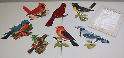 Vintage Cut Out Birds 50's or 60's Cardinal Blue Jay Oriole Lot of 7 Large Birds