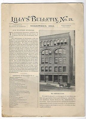 Antique 1892 LILLY'S BULLETIN Apothecary Pharmacy Medical Journal Periodical
