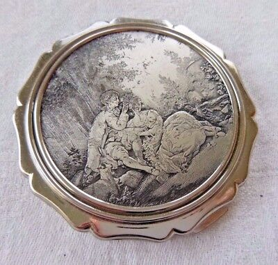 Vintage Stratton Compact Pastoral Scene of Two Lovers & a Goat