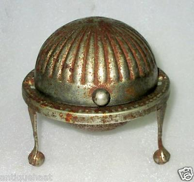 Vintage Old Unique Round Shape Silver Plated Written Iron Box Made In England