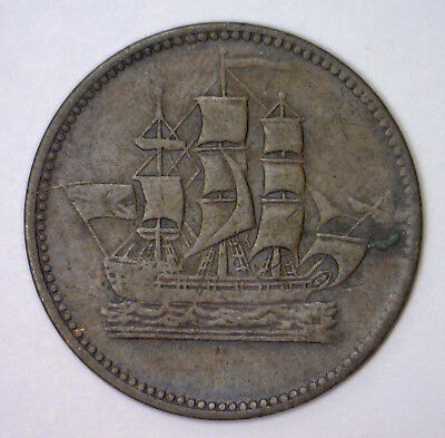 Ships Colonies & Commerce Prince Edward Island CANADA Token ~ Very Fine VF