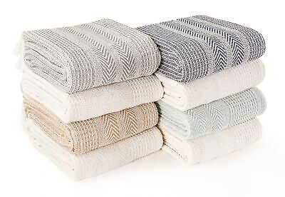 Premium Pack of 2 Cross-Stitch Throws for Sofa Blanket,125 x 150cm- In 3 Colours