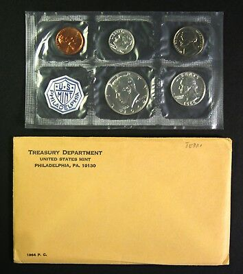 1964 Silver Proof Set 90% Silver US Mint 5 Coins W/ Envelope & US Mint Insert