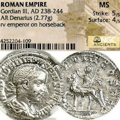 GORDIAN III on HORSE NGC Cert. MS Mint State! Ancient Roman Silver Coin Denarius