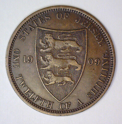 1909 1/12 Shilling STATES OF JERSEY 1-Year Type KM #10 ~ Very Fine VF
