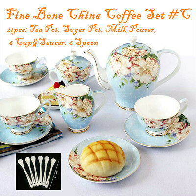 Fine Bone China Pottery Porcelain Elegant Ceramic 21pc Coffee Tea Pot Cup Set #C