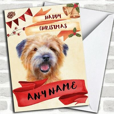 Watercolour Rustic Dog Cairn Terrier Personalized Christmas Card