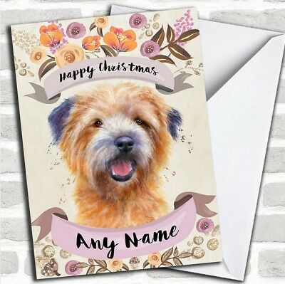 Rustic Gold Dog Cairn Terrier Personalized Cute Christmas Card