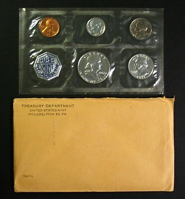 1962 Silver Proof Set 90% Silver US Mint 5 Coins W/ Envelope & US Mint Insert
