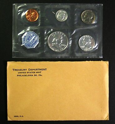 1963 Silver Proof Set 90% Silver US Mint 5 Coins W/ Envelope & US Mint Insert