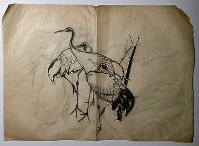 2432. Original 19th c Japanese Ink Drawing on Tissue Master Sumi-e 3 Cranes