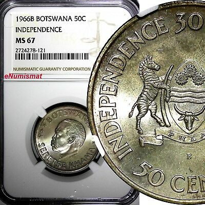 Botswana Silver 1966 B 50 Cents NGC MS67 Independence GEM TOP GRADED BY NGC KM#1