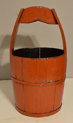 Chinese Bucket Red Lacquered Wood Water Bucket Carrying Waterr Red Chinese Bucke