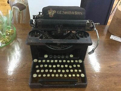 Antique L C Smith And Bros Typewriter With Tin Case