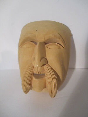 Striking Carved Wooden Asian Male Man Mask Hand Carved Art Mask