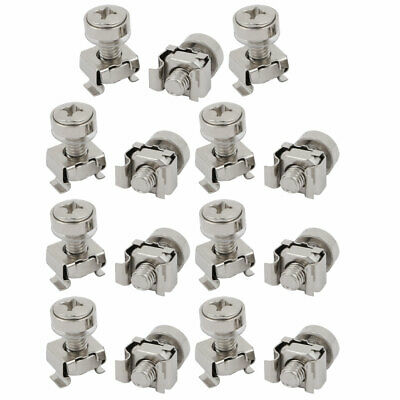 15pcs M6x20mm 65Mn Steel Cage Nuts w Screws Washers for Server Rack Cabinet