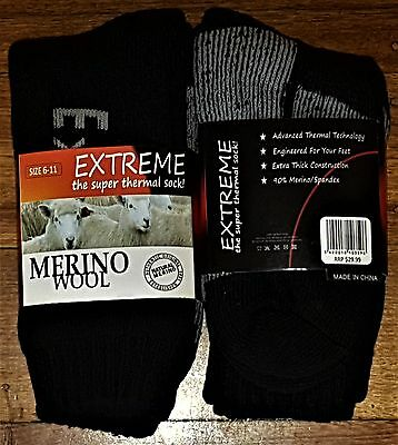 6 Pairs Mens Sz 7-11 Black Merino Wool Thermal Cushion Foot Work Socks