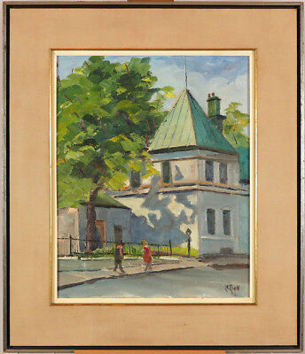 Maurice Le Bon (1916-1998) Canadian Oil/Canvas Quebec City Streetscape Vintage