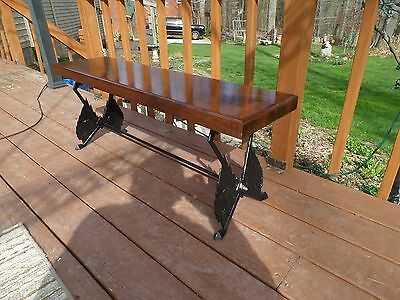 Vintage Art Deco Walnut Bench With Cast Iron Legs