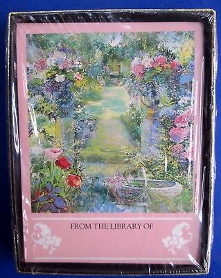NOS NEW 30 Self Stick Antioch Publishing Company Bookplates B317 Floral Garden