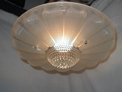 Vtg Antique Art Deco 30S Sunflower Glass Shade Light Fixture Chandelier