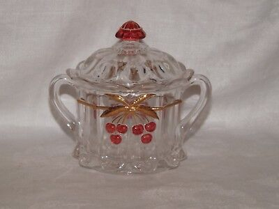 Mosser Glass Miniature Covered Sugar & 4 Parfait Glasses*Cherry Thumprint*Panels