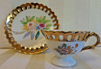 Vintage Norcrest Small China Tea Cup and Saucer Made in Japan