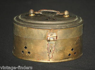 Old Vintage Brass Oval Pierced Incense Cricket Box w Handle Ornate Metal Decor