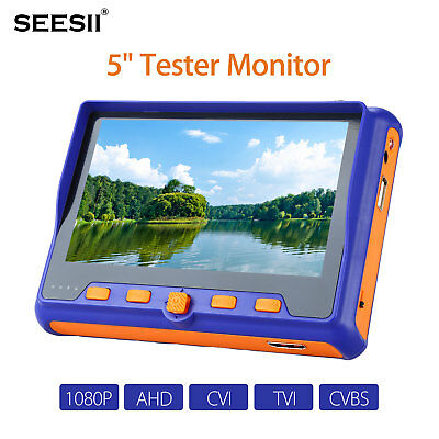 "SEESII 5"" HD1080P Camera Tester Monitor TVI CVI AHD CVBS Test HDMI Input W/Cable"